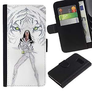 LECELL--Cuero de la tarjeta la carpeta del tirón Smartphone Slots Protección Holder For Sony Xperia Z3 Compact -- Tigre blanco Princesa --