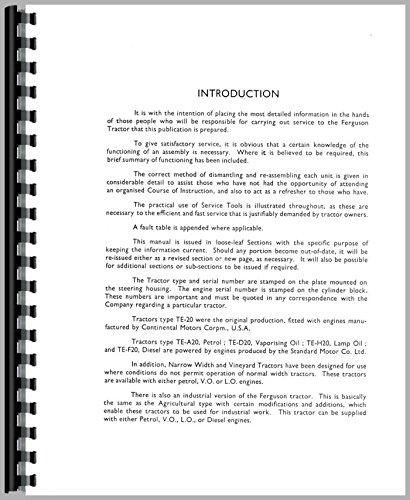 Ferguson TEF20 Tractor Service Manual