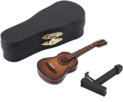 Wood Mini Guitar Model With Stand Home Office Desk Decoration Handcraft Gift