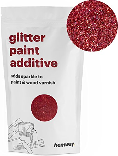 Paint Glitter Red (Hemway (Red) Glitter Paint Additive Crystals 100g/3.5oz for Acrylic Latex Emulsion Paint - Interior Exterior Wall, Ceiling, Wood, Varnish, Dead flat, Matte, Gloss, Satin, Silk)