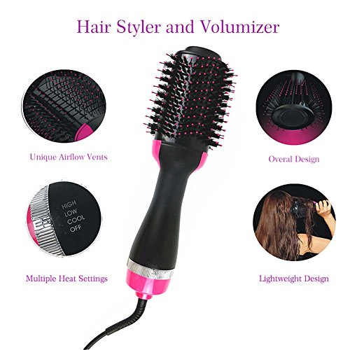 QJHP Hair Straightener Brush Professional Multifunction Ionic Anti-Static Adjustable Temperatures Overheating Protection for Home and Travel by QJHP (Image #1)