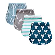 Baby Burp Unisex Cloths - 4 Pack Anti-Bacterial Triple Layer Tick and Soft Burping Rags for Newborns by Bebbello