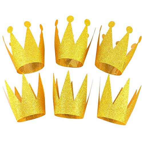 Boieo Gold Party Crowns Prince & Princess Birthday Party Hats Crown Set of 6 ()