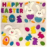 Easter Spring Gel Clings: Bunnies, Rabbits, Eggs, Carrots Decoration Pack for Windows, Mirrors, Car and More!