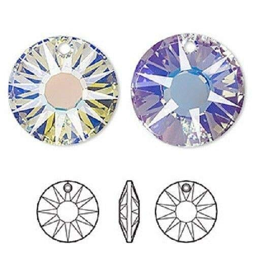 2 Faceted Clear AB 19mm Sun Swarovski Faceted Bead 6724 Drop Charms Pendants