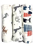 Cotton Muslin Swaddle Blankets, Set of 3, 'My First Furry Friends' Perfect Christmas Holiday Gift