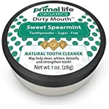 Dirty Mouth Organic Sweet Toothpowder BEST All Natural Dental Cleanser - Gently Polishes, Detoxifies, Re-Mineralizes and Strengthens Teeth - Primal Life Organics (Sweet Spearmint 1oz) 1oz
