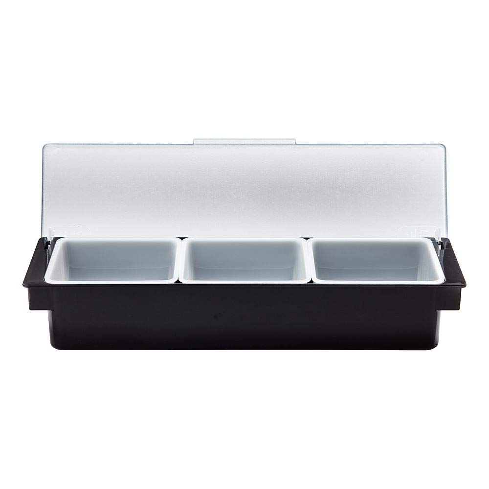Rubbermaid Commercial Products 6-Compartment Condiment Dispenser Tray with Hinged Lids, Quarts, Black (FG289100BLA)