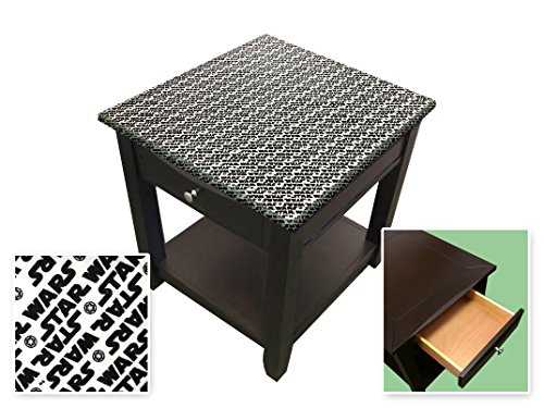 New Cappuccino / Espresso Finish End Table with a Star Wars Theme and a Glass Table Top Surface! by The Furniture Cove