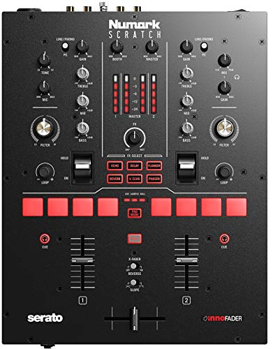 Numark Scratch | Two-Channel Mixer for Serato DJ Pro (Included) with Innofader Crossfader, DVS License, 6 Direct Access Effect Selectors, Performance Pads and 24-Bit Sound Quality