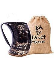 Divit Genuine Viking Drinking Horn Mug | Authentic Medieval Beer Horn Tankard | 24oz Capacity | Horn Cup/Stein.