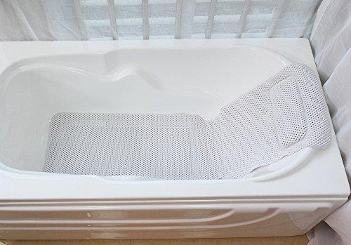 HALOViE Full Body Bath Pillow Mat, Bathtub Mat with Single Pillow Hollow PVC Foam Spa Bathtub Pad Non Slip 49.21x14.17inch