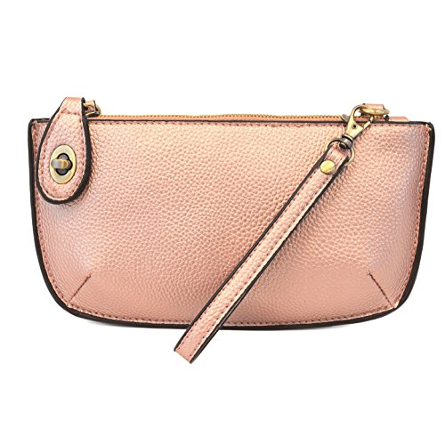 Joy Susan Mini Crossbody Wristlet Clutch - Metallic Pink
