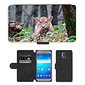 CARD POCKET BOOK CASE PU LEATHER CASE // M00148233 Becerro de Pequeños Animales del bosque // Samsung Galaxy S5 S V SV i9600 (Not Fits S5 ACTIVE)