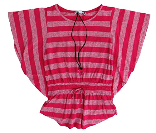 Speechless Big Girls' Striped Poncho Top with Necklace (Large, - Poncho Girls Striped