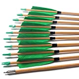 FlyArchery 12 Pcs Traditional Archery Target Wooden Arrow Hunting Practice 5' Turkey Feather Fletched with Field Point for Recurve Bow Longbow Green
