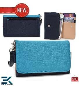 Universal Phone Clutch Women's PU Leather Wallet with Wrist Strap fits Samsung Galaxy Ace 3 Case - DARK BLUE & SKY BLUE. Bonus Ekatomi Screen Cleaner