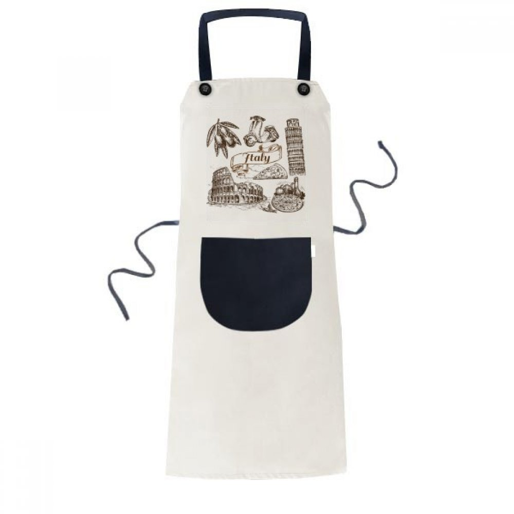 DIYthinker Italy Famous Landscape Travel Places Pattern Cooking Kitchen Beige Adjustable Bib Apron Pocket Women Men Chef Gift