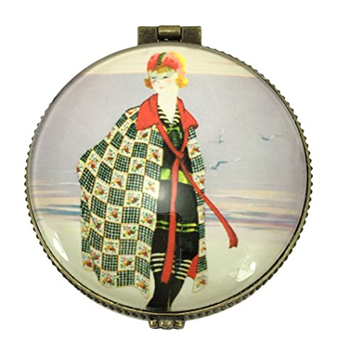 Value Arts Vintage Fashion Model Trinket Box, Ceramic and Glass, 2.5