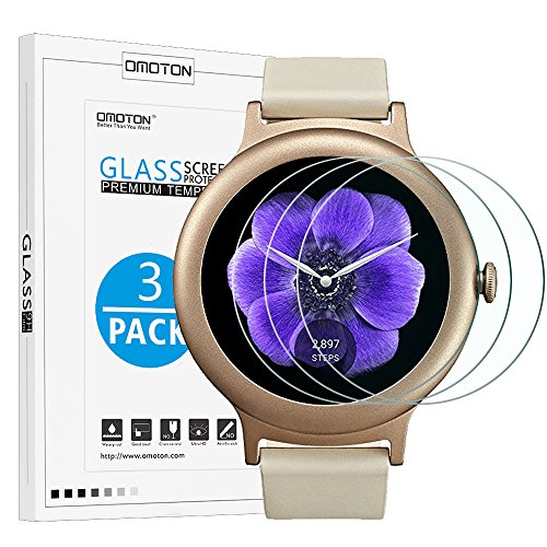[3 Pack] LG Watch Style Screen Protector - OMOTON Tempered Glass Screen Protector for LG Watch Style Smart Watch 2017 with [Scratch Resistant][Crystal - Less Coupon For Style