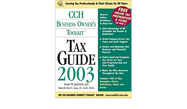 Cch Business Owners Toolkit Tax Guide 2003 Paperback January