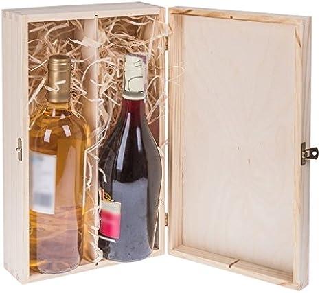Amazinggirl Cajas de Madera para vinos - Estuches Vino Caja Madera Regalo con Tapa Pintar decoupage para Dos Botellas