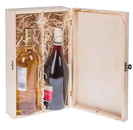 Amazinggirl Botellas de Vino Botellas de Vino Caja Caja de Regalo decoración Madera Caja Vino Decoration de Madera para 3, 2 y 1 Botellas para ...