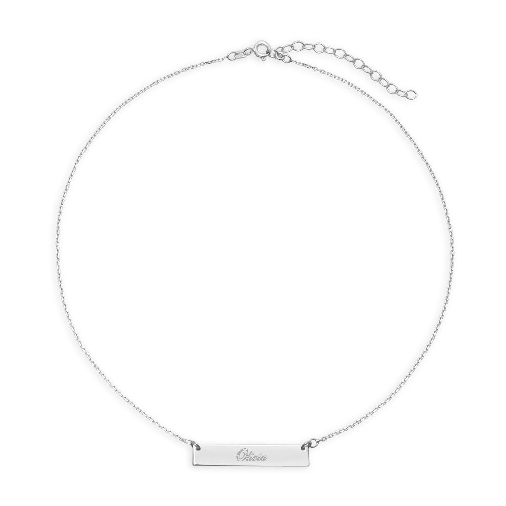 Custom Engraved Sterling Silver Name Bar Choker Necklace (13