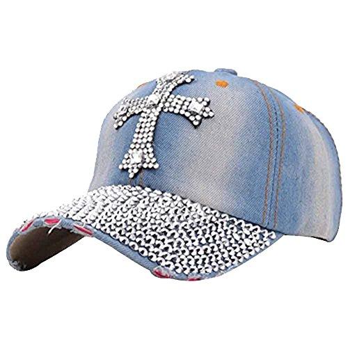(Song Qing Jean Snapback Hat Women Men Bling Cross Rhinestones Denim Baseball Cap Light Blue)