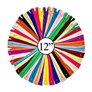 KGS 12 inch Nylon Zipper Zippers for Sewing Crafts | 20 Zippers/Pack (20 Colors)