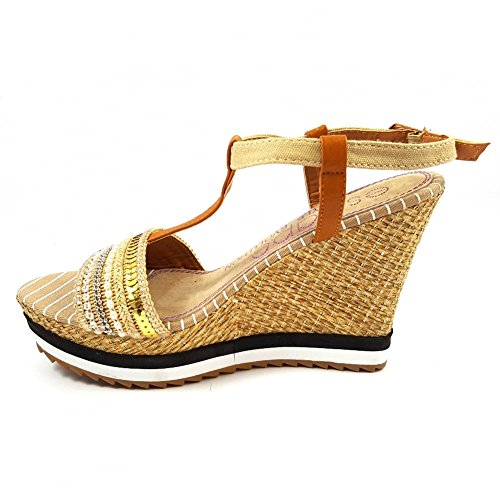 Escape - Sandalias de vestir de Material Sintético para mujer beige Beige and Gold Beige and Gold