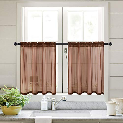 MIULEE Short Linen Sheer Curtains and Valance Set of 2 for Kitchen Bathroom Half Window Light Filtering Semi Transparent Tier Voile Drapes in W 29 x L 24 inches Chocolate (Cool Valances Window)