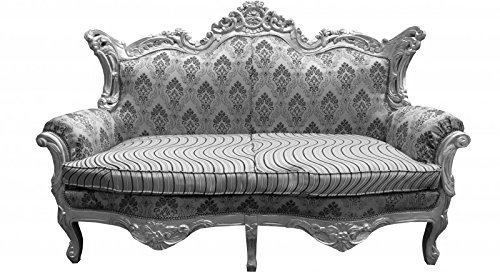 Casa Padrino Barock 2er Sofa Master Silber Muster /Silber Mod2 - Wohnzimmer Couch Möbel Lounge