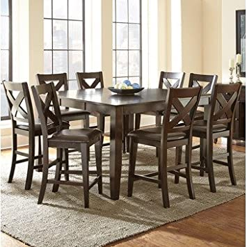 Steve Silver Crosspointe Counter Height Dining Chair – Set of 2 – Dark Espresso Cherry