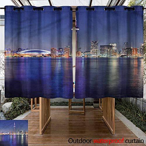Custom Outdoor Curtain Blue Canada Toronto Sunset North for Porch&Beach&Patio W 63