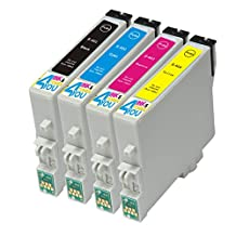 4 Pack - Remanufactured Ink Cartridges for Epson #60 T060 60 T060120 T060220 T060320 T060420 Inkjet Cartridge Compatible With Epson Stylus C68 Stylus C88 Stylus C88Plus Stylus CX3800 Stylus CX3810 Stylus CX4200 Stylus CX4800 Stylus CX5800F Stylus CX7800 (1 Black, 1 Cyan, 1 Magenta, 1 Yellow) Ink & Toner 4 You ®
