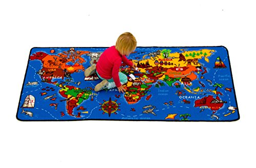 Kids Map Continents - Learning Carpets Where in The World LC 177