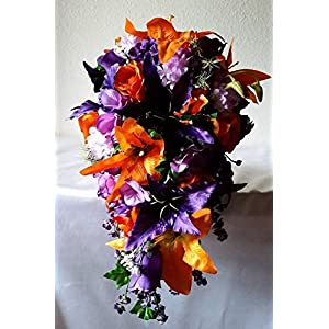 Purple Orange Rose Tiger Lily Cascading Bridal Wedding Bouquet & Boutonniere 29