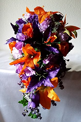 Purple Orange Rose Tiger Lily Cascading Bridal Wedding Bouquet & (Cascading Rose Bouquet)