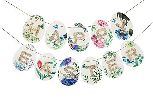 Glitter Gold Happy Easter Banner Recovery Style For Easter Party Favors Photo Props Sunbeauty