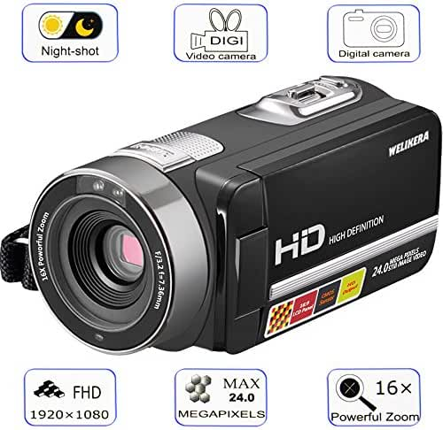 Camera Camcorder, WELIKERA Remote Control Handy Camera, IR Night Vision Camcorder, HD 1080P 24MP 16X Digital Zoom Video Camcorder with 3.0