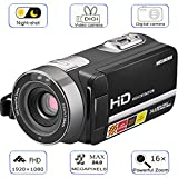 Camera Camcorder, WELIKERA Remote Control Handy Camera, IR Night Vision Camcorder, HD 1080P 24MP 16X Digital Zoom Video Camcorder with 3.0