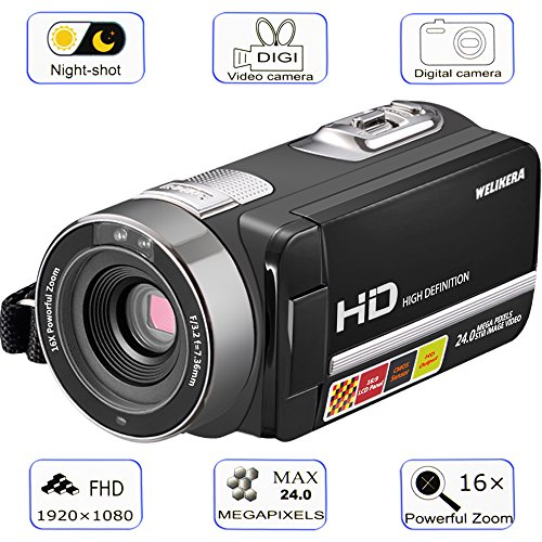 Camera Camcorder, WELIKERA Remote Control Handy Camera, IR Night Vision Camcorder, HD 1080P 24MP 16X Digital Zoom Video Camcorder with 3.0 LCD and 270 Degree Rotation Screen