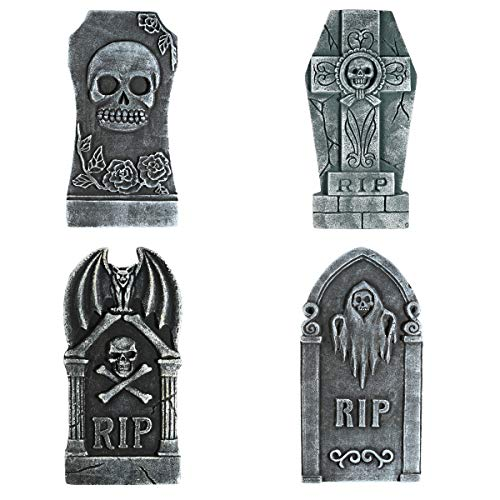 TOYMYTOY 4PCS Halloween Tombstone Decorations,Realistic RIP Gravestone Graveyard Haunted House Decorations and Accessories 15.7