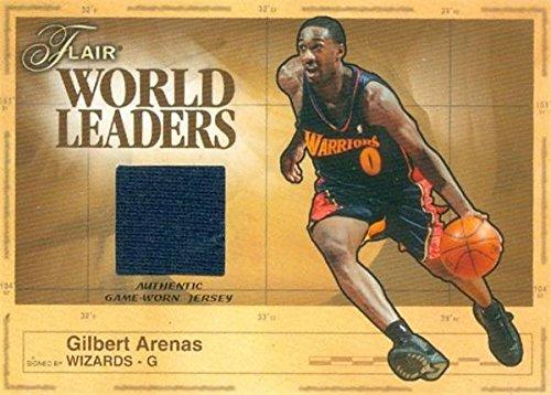 (Gilbert Arenas player worn jersey patch basketball card (Golden State Warriors) 2003 Fleer Flair World Leaders #WLGA)