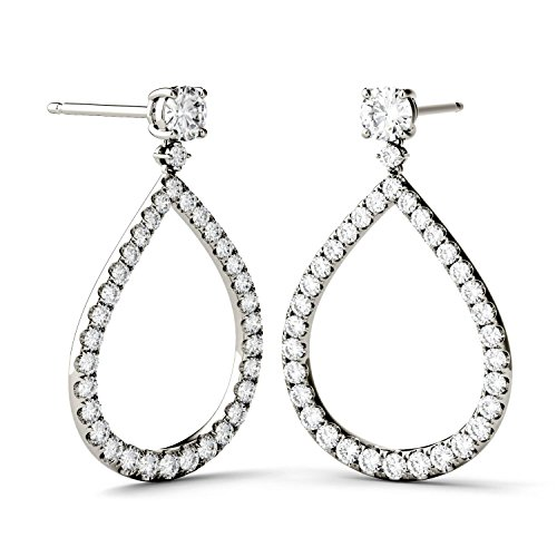 (Forever Brilliant 4.0mm Round Moissanite Drop Earrings, 1.72cttw DEW by Charles & Colvard)