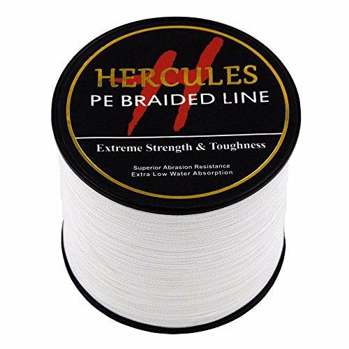 HERCULES 1000m 1094yds White 6lbs-100lbs Pe Braided Fishing Line 4 Strands (20lb/9.1kg 0.20mm) (0.2 Mm Hi Line)