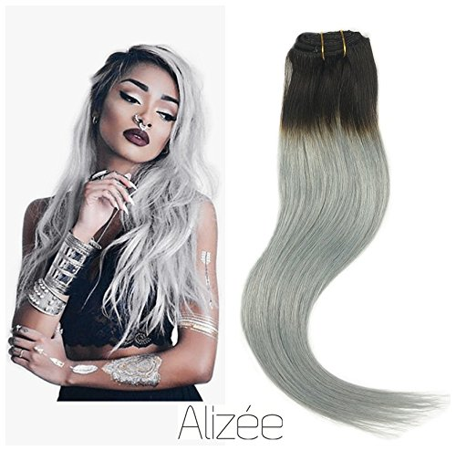 18 Inch Cashmere - Aliz¨¦e 18 Inch Tape In Hair Extensions Pack Dark Roots Silver Grey Ombre Silky Straight Real Remy Human Hair White Icy Color Dip Dye Salon Quality 40pcs 100Gram ¡­