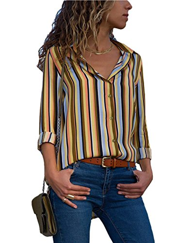 Womens Blouses Long Sleeve V Neck Color Block Stripes Button up Blouse Casual Work Shirt Tops