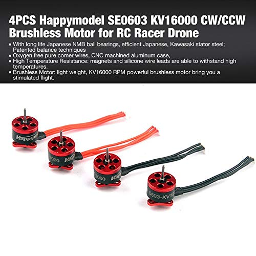 Wikiwand 4PCS Happymodel SE0603 CW/CCW KV16000 Brushless Motor for RC Racer Drone by Wikiwand (Image #1)